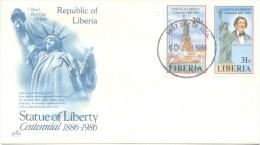 STATUE OF LIBERTY CENTENNIAL LIBERIA 1886-19986 ENVELOPE FDC TBE
