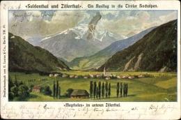 Künstler Ak Mayrhofen Zillertal Tirol, Unteres Zillertal, Suldental, Panorama - Autriche