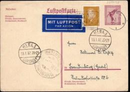 ENTIER POSTAL 1932 - AVEC COMPLT AFFRANCHISSEMENT - POSTE A KIEL - CACHET ARRIVEE HAMBOURG - ECRIT/PROPRE - - Allemagne