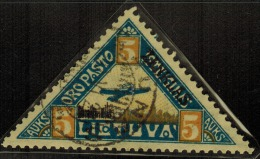 3590. Lithuania #C17 Yellow Curved Line under �AUKS� 1922 Used