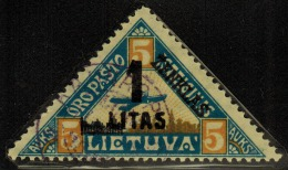 3591. Lithuania #C31 Yellow Curved Line under �AUKS� 1922 Used