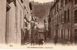 CPA AUBUSSON. Rue Franche, Commerces, Coiffeur, Hotel De France, Sunlight, - Aubusson