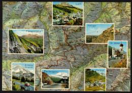 Landkarte Österreich-  Arlberg, Landeck, Ischgl, Flexenpass - Gelaufen Mit Werbestempel - Landkarten