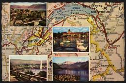 Landkarte Schweiz - Geneve, Chamonix, Montreux Und Umgebung - Landkarten