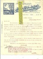 Espagne - ORENSE - Facture José Blanco VEGA - Luna Battery – 1929 - REF 132 - Italia