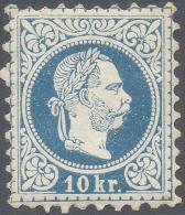 AUSTRIA 1867 10LBLUE PERF 9 1/2 Nº 35A