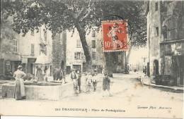 83 DRAGUIGNAN  PLACE DE PORTAIGUIERES FONTAINE CHEVAL ANIMEE - Draguignan