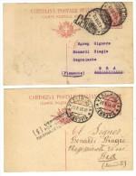 BOL1743 - REGNO , Interi Con Due Diversi Annulli Di Censura - Stamped Stationery