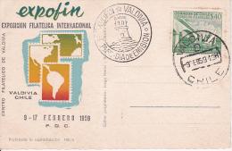 PC Valdivia - Exposicion Filatelica Internacional Expofin - Dia De Emission - 9.2.1959 (9481) - Chile