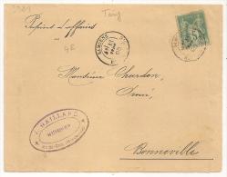 Tarif Papiers D 'affaires, SAMOENS Haute Savoie Sur Devant D 'enveloppe SAGE.  J. GAILLARD, Huissier. - 1876-1898 Sage (Type II)
