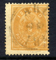 "ICELAND 1886 3 Aurar With ""double 3"" Error, Used.  Facit 8 V1 Cat. SEK1200 - Oblitérés"
