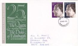 Royal Silver Wedding  -  2v FDC - 1971-1980 Decimal Issues