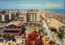 Riccione - Alberghi E Spiaggia - 182 - Formato Grande Non Viaggiata - Rimini
