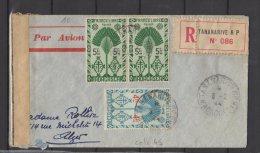 Madagascar - N° 275 Et  276x2  Obli/sur Lettre Recommandée Pour Alger - 1944 - Controle Postal Militaire - Madagascar (1889-1960)