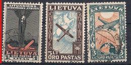 Litauen Lithuania 1934 Death of pilots, Darius and Girenas , Mi 388-390,  used