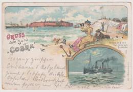 Gruss Von Bord Dampfer Cobra, Insel Helgoland, Cuxhaven, Frankfurt Main 1897, Postkarte - Helgoland