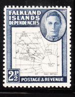 Falkland Islands 1949 KG Map 2 1/2p Mint - Falkland