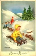 ILLUSTRATEUR BONNE ANNEE ENFANTS SUR LUGE SIGNEE LAGARDE - Scènes & Paysages