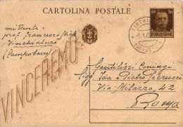 INTERO REGNO IMPERIALE VINCEREMO 30 C 1943 VINCHIATURO X ROMA - Interi Postali