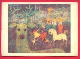 155270 / UNICEF - United States Art  CAROLYN JABLONSKY - PROCESSION , DEER HORSE MUSIC FLUTE DOLL - DENMARK - Illustrateurs & Photographes