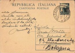 INTERO DEMOCRATICA 15 LIRE 1950 BAZZANO X BOLOGNA - 1946-.. République