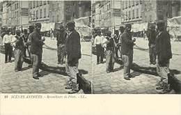 Themes Div-ref H575- Carte Stereoscopique -stereo - Scenes Animées - Remailleurs De Filets   -carte Bon Etat - - Cartes Stéréoscopiques