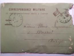 Correspondance Militaire, Franchise, Envoyée à Massat Ariège - Guerre 1914-18