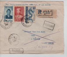 Lettre Recommandée De Saigon En 1954 V.Thu-Thua Par Tan-An Griffe Non-Réclamé/Retour à L'envoyeur PR1256 - Viêt-Nam