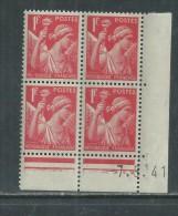 France N° 433 XX Type Iris  1 F. Rouge En Bloc De 4 Coin Daté Du 7 . 5 . 41 , Sans  Point Blanc Sans Charnière, TB - Coins Datés