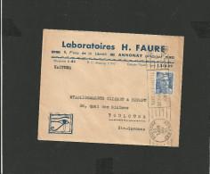 Enveloppe 1950 Laboratoire Faure Annonay Ardèche - Marcophilie (Lettres)