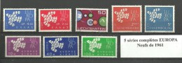 5 Séries De Timbres Neufs EUROPA De 1961 Pays Différent Gomme Intacte Bon état Voir Le Scan - Timbres