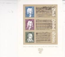 DDR - 1985 - Bloc Bach Händel Schütz - Compositeurs - Muziek