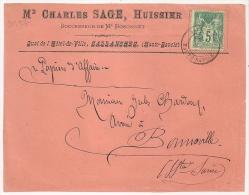 Charles SAGE, Hussier, SALLANCHES, Haute Savoie, Sur DEVANT D'enveloppe Rose  SAGE.  L3 - Marcophilie (Lettres)