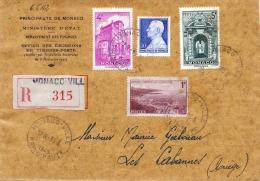 R-Brief Ministerium MONACO 1948 - 4 Fach Frankiert (1+4+5+10 F) Gel.v.Monaco Ville > Les Cabanes Ariege - Monaco