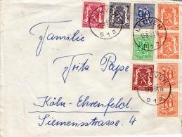 Brief BELGIEN 1951 - 9 Fach Frankierung Auf Brief V.Leuven > Köln - Belgien