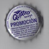 "COLOMBIA-"" QUATRO-TORONJA""  "" -  PROMOCION -2014- BOTTLE CROWN CAP / KRONKORKEN /TAPPI-USED"