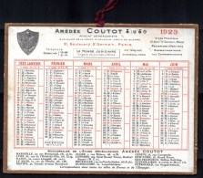 Petit Calendrier Cartonné 1923. A.Coutot, Avocat Généalogiste, Recherche D'héritiers. Paris, Bd. St. Germain. - Petit Format : 1921-40