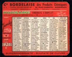 Petit Calendrier De Poche 1952 : Cie.bordelaise De Produits Chimiques, Phosphates, Sulfates, Engrais Phosamo. - Petit Format : 1941-60