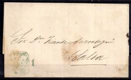 AÑO 1861, CARTA COMPLETA PREFILATELICA, DE POTOSI A SALTA, CÓNDOR POTOSI FRANCA EN VERDE - Bolivia