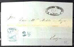 AÑO 1864, CARTA COMPLETA PREFILATELICA, DE POTOSI A COBIJA , CÓNDOR POTOSI FRANCA EN AZUL - Bolivia