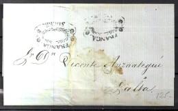 BOLIVIA, AÑO 1862, CARTA COMPLETA PREFILATELICA, DE SUCRE  A SALTA , MARCA FRANCA - SUCRE - Bolivia