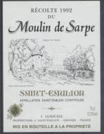 THEME MOULIN étiquette De Vin BORDEAUX SAINT ÉMILION 1992 - Windmills