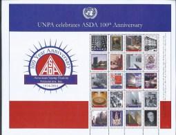 UN-New York S61. Scott # 1101a-f,  MNH Personalized Sheet Of 10+10 Labels. ASDA 100th. Anniv. 2014 - New-York - Siège De L'ONU