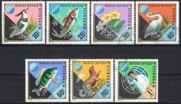 G338 FAUNA VOGELS BIRDS VISSEN FISH BLOEMEN FLOWERS ENVIRONMENT PROTECTION MONGOLIA 1974 Gebr / Used - Timbres