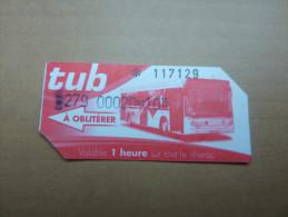 """Ticket de bus """"tub"""" (rouge, Saint-Brieuc (22)"""