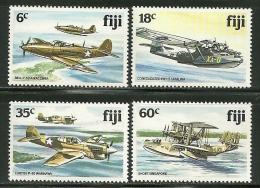 """Fiji     """"World War II Aircraft""""     Set    SC# 454-57   MNH**  SCV$ 12.00 - Fiji (1970-...)"""