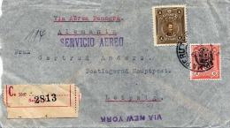 LP-R-Brief PERU 1931 - 3 Fach Frankierung Auf Reco Luftpost-Brief Von Lima > New York > Leipzig - Peru