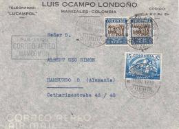 LP-Telegramm-Brief COLOMBIA 1938 - 3 Fach Frankierung Auf Luftpost-Telegramm-Brief Von Manizales Colombia > Hamburg - Colombia