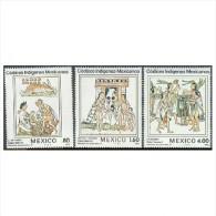 Mexico 1982 Florentine Codex Illustration Astrologer School Musicians Astrology Stamps MNH 1290-1292 Michel 1837-1839 - Astrology