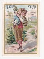 Chromo Chocolat POULAIN Homme Et Fillette Couronne De Fleurs - Poulain